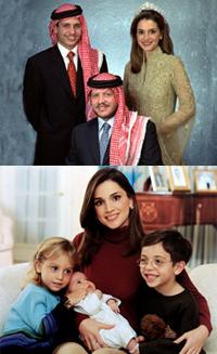 top (left-right): The then Crown Prince Hamzah, King Abdullah, Queen Rania; bottom: Queen Rania & Children