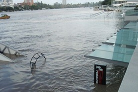 The cafe on the bank of Brisbane River and ferry terminal were under water!