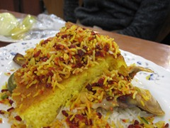 Tahchin (saffron rice & chicken)