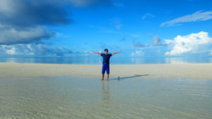My husband at one of the islands