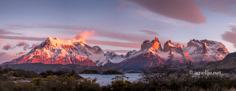 Torres del Paine from the Paine Lake