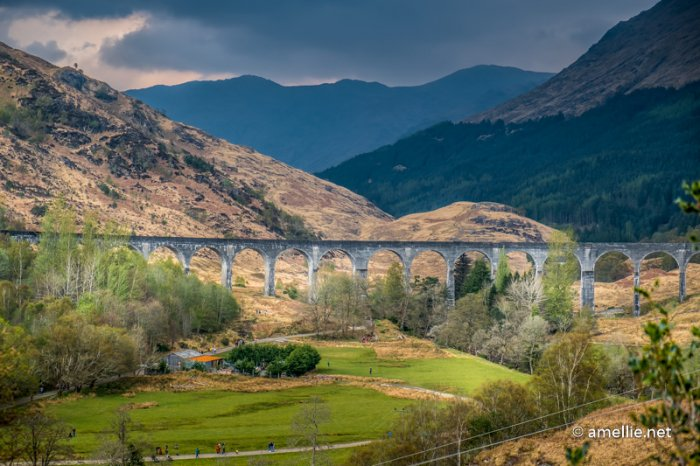 Jacobite train (aka Harry Potter train) passing through the Glenfinnan Viaduct